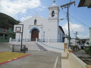 Church on Isla Taboga. Do the priests play basketball?